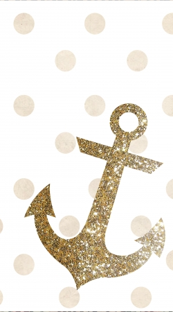 coque Glitter Anchor and dots in gold