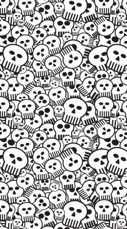 coque toon skulls, black and white