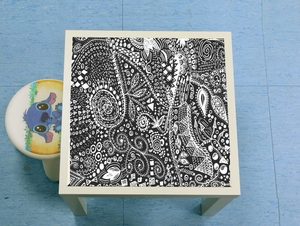 table d'appoint Aztec B&W (Handmade)