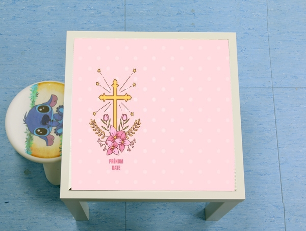 table d'appoint Communion cross with flowers girl