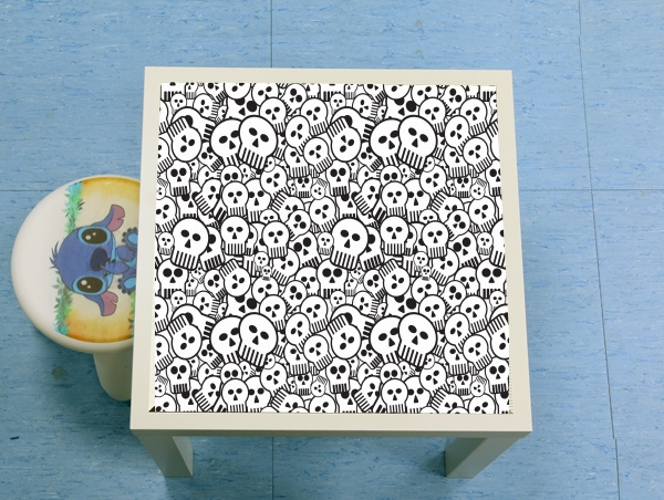 table d'appoint toon skulls, black and white
