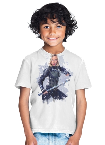 tshirt enfant Black Widow Watercolor art