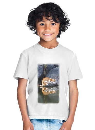 tshirt enfant Cat Reflection in Pond Water