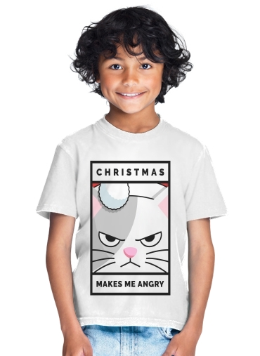tshirt enfant Christmas makes me Angry cat