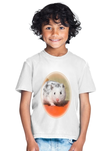 tshirt enfant White Dalmatian Hamster with black spots