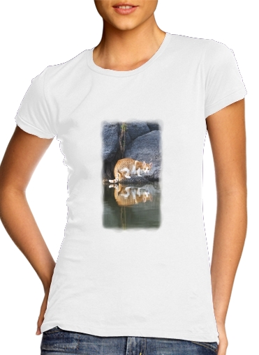 Tshirt Cat Reflection in Pond Water femme