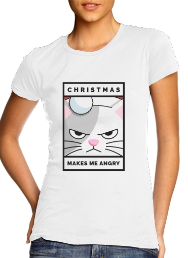 Tshirt Christmas makes me Angry cat femme
