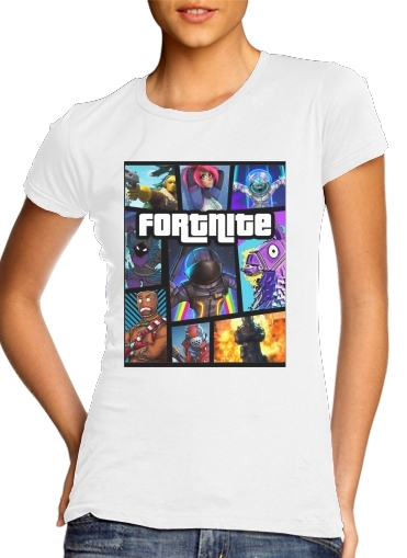 Tshirt Fortnite - Battle Royale Art Feat GTA femme
