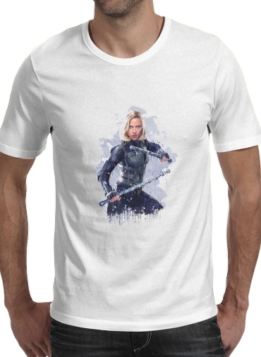 Tshirt Black Widow Watercolor art homme