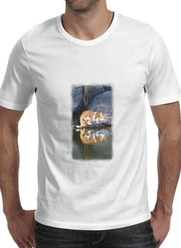 Tshirt Cat Reflection in Pond Water homme