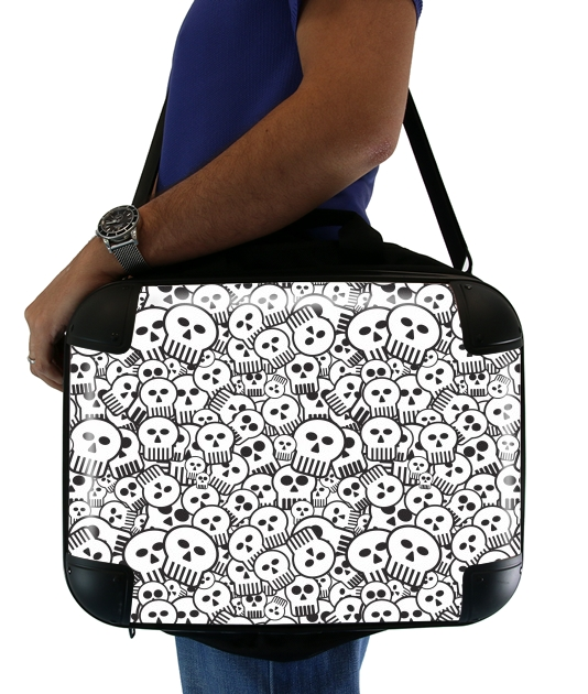 sacoche ordinateur toon skulls, black and white